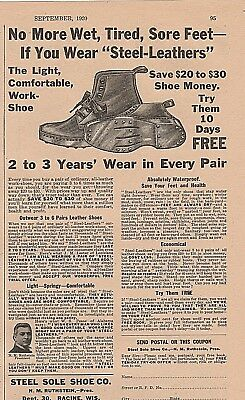 Vintage 1920 ad~ STEEL SOLE SHOE CO., Racine, Wis~Steel-Leather Waterproof Shoes