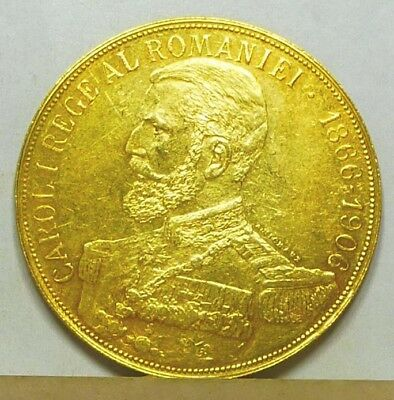 Romania Gold 50 Lei 1906 Almost Uncirculated