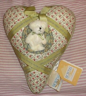 """NEW w/Tag HEART  Boyd's Bear QUILTED Pillow """"HOME IS WHERE YOUR MOM IS""""  12"""""""