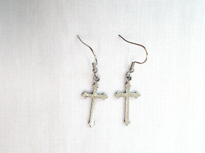 New Usa Pewter Medieval Christian Cross Pendant Size Hook Pair Of Metal Earrings