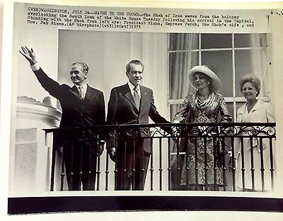 Shah of Iran & President Nixon at White House w/ wives 1973 vintage wire photo