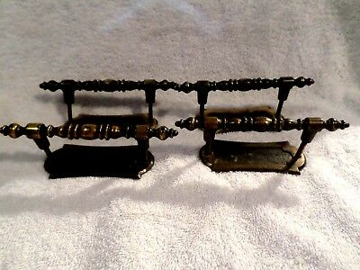 SET of 4 ANTIQUE ARTS CRAFT DECO VICTORIAN BRASS PLATED DOOR PULLS AND PLATES