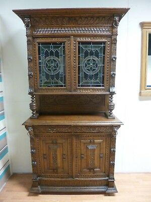 Large Tall Antique Oak Carved Gothic Stained Glass Display Unit Dresser Cabinet