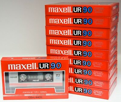 10x Maxell UR 90 Normal Bias Type 1 Blank Cassettes. 1985. New And Sealed