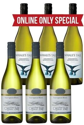 Whales Tale & Oyster Bay Sauvignon Blanc 2017 (6 x 750mL) Mixed Pack