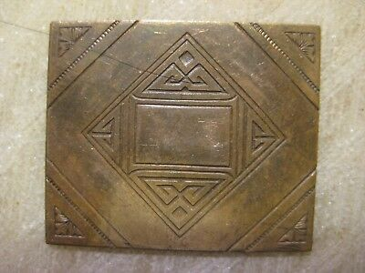 Antique French 1920s Art Deco Engraved Die Struck Brass Jewelry Finding/Stamping