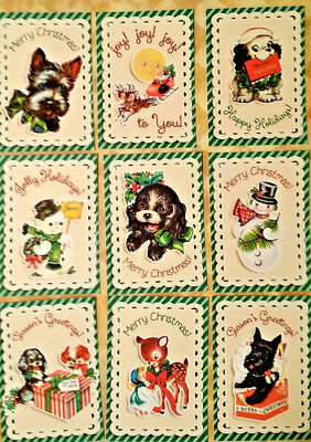 9 Vintage Christmas~Greeting Card Toppers~Scrapbooking~Card Craft Making