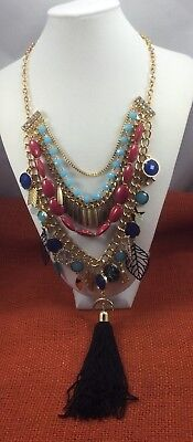 Fashion Necklace NWOT Rhinestone Plastic Dripping Multi Chain Long Runway Gold