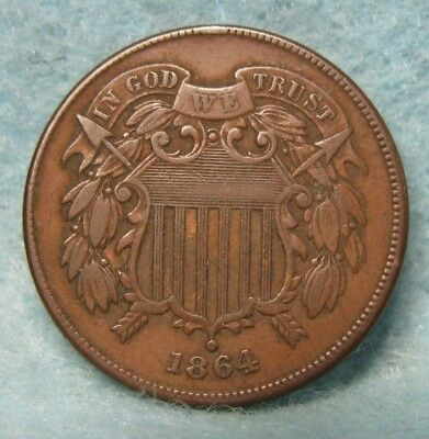 1864 CIVIL WAR ERA TWO CENT PIECE SOLID VF-XF * US Coin