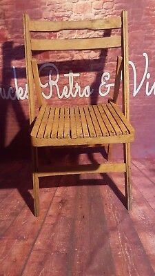 Vintage Retro Mid Century Wooden Folding Chair Office Dining Kitchen Cafe
