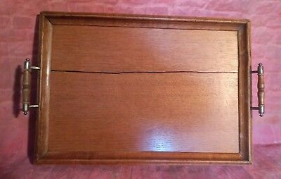 Antique Victorian Old Wooden Serving Servant Butler Tea Coffee Snack Tray