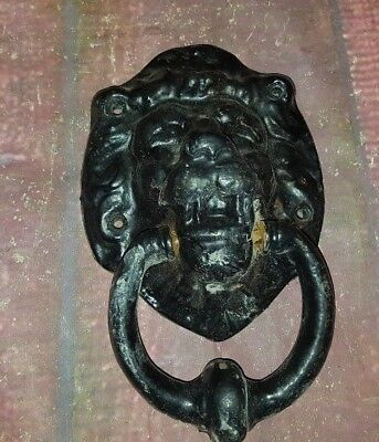 Vintage Old Cast Iron Large Lion Head Door Knocker Salvaged Architectural Black