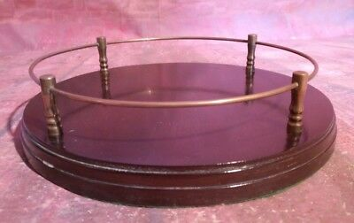 Antique Vintage Old Wooden Gallery Serving Drinks Tray Butler Servant Mahogany