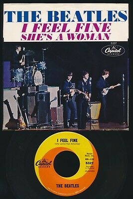 Beatles VINTAGE 1964 'I FEEL FINE' CAPITOL RECORDS PICTURE SLEEVE & 45! WC VERS.