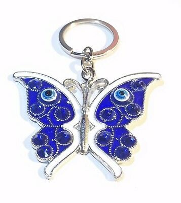 BUTTERFLY Key Chain Hanging Ring Feng Shui Blue Evil Eye Protection FREE SHIP