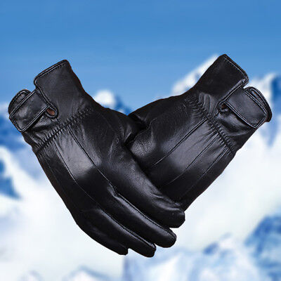 Men Windproof Waterproof Touch Screen Leather Gloves Winter Fleece Mittens Black