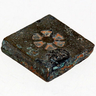 Very Interest Byzantine Bronze Square Weight With Struck Design Circa 500 Ad