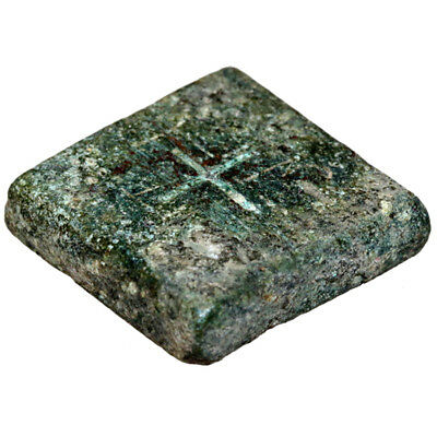 CIRCA 500-700 AD BYZANTINE BRONZE SQUARE WEIGHT WITH ENGRAVED CROSS 12.59 gr