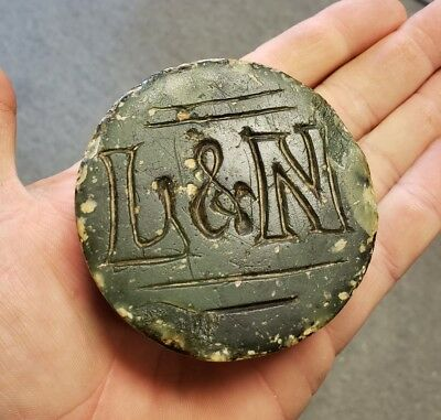 Antique L&N Railroad Carved Stone Paperweight Louisville Ky Nashville Tn RR LN