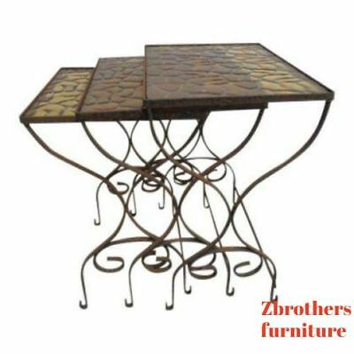 Vintage Iron Outdoor Patio Woodard  Stacking Nestinf Sode End Tables 3pc