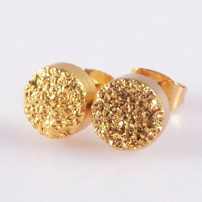 8mm Round Natural Agate Titanium Druzy Stud Earrings Full Gold Plated H117667