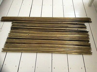 32 Vintage Antique Reclaimed Brass Stair Carpet Rods Acorn Finials Beautiful