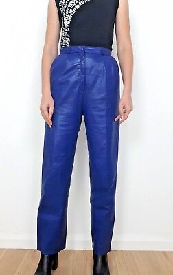 vintage 80s 90s Blue Leather trousers pants Small