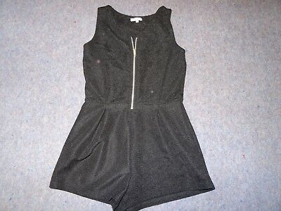 Girls black zip front playsuit from Miss Evie. Age 10 years. Excellent condition