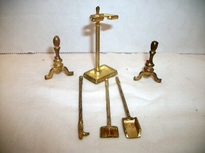 Vintage Dollhouse Miniature Brass Fireplace Tools, Stand & Andirons