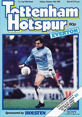 TOTTENHAM v Everton (FA Cup) 1985/6 - RARE Postponed programme dated 16.02.86