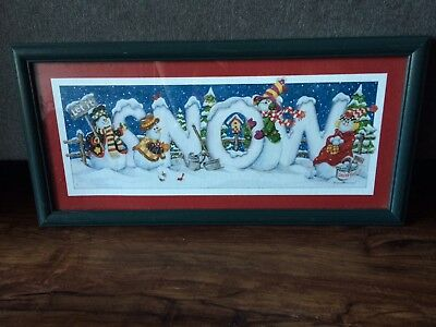 "Homco Home Interiors  Christmas Snowman ""Let it Snow"" Wall Decoration Print"