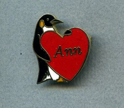 """Penguin holding heart with name Ann enamel & metal pin approximately 7/8"""" x 1"""""""