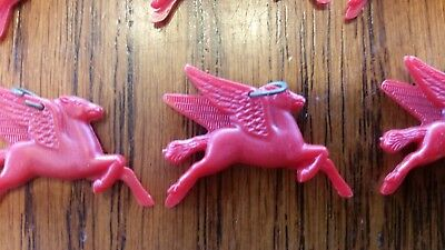 "Vintage Red Plastic Pegasus Horse ""mobil Gas"" Collectible Promotional Charm"
