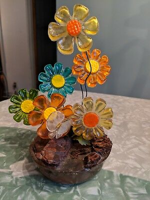 VINTAGE RETRO  LUCITE ACRYLIC FLOWER SCULPTURE  by New Designs 1969  AS IS