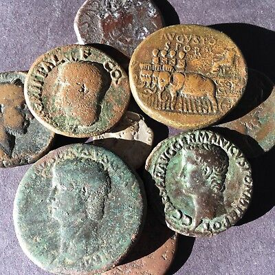 AUGUSTUS and DRUSSUS SESTERTIUS AGRIPPA and CALIGULA AS in 9 coin lot