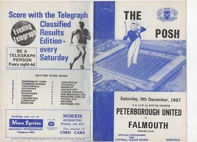 1967-Peterborough United-Utd V Falmouth-Fa Cup 1St Round Programme