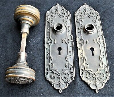 Vintage set of ornate Victorian cast brass door knobs & plates ARNO RH Co Marked