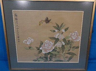 Chinese Butterfly & Flower Watercolor Silk Painting Signed & Framed