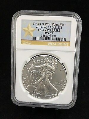 2014-W American Silver Eagle NGC MS69 Early Releases West Point Mint Label