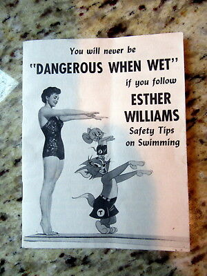 Rare 1950s Dangerous When Wet Movie Booklet Esther Williams Tom + Jerry Swimming