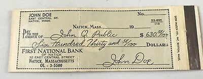 Old Matchbook Cover First National Bank Of Natick MA