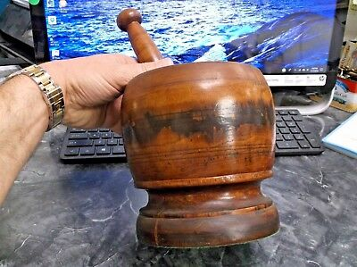 18th/19th Century Large Wood Mortar & Pestle Rich Color Patina Treenware