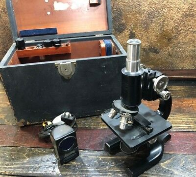 30259 Vintage Antique Doctors Spencer Buffalo Microscope with Case & extras