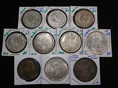 H22 World Silver Half $ Sized Australia Mexico India & more Mixed Group 10 pcs