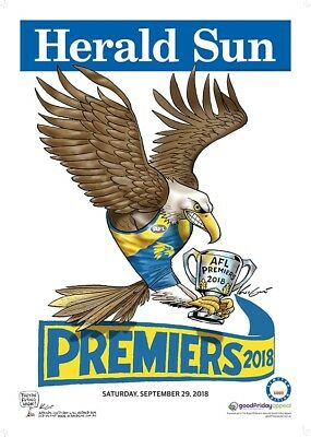 2x 2018 MARK KNIGHT AFL poster - Herald Sun West Coast LIMITED EDITION Premiers