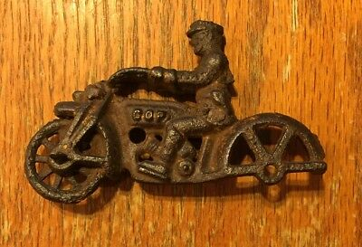 """Vintage 1930's Cast Iron """"Cop"""" Police Motorcycle missing sidecar HUBLEY 4"""""""