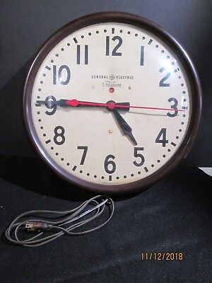 Vintage General Electric G.e. Telechron Electric School Factory Wall Clock Nice!