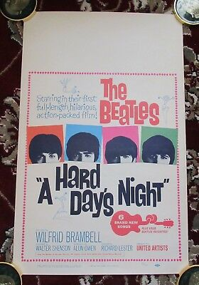 "Beatles RARE 1964 US "" A HARD DAY'S NIGHT "" MOVIE WINDOW CARD THEATER POSTER NM"