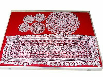 Antique Victorian 1900s Tatted Lace Doilie Huge Runner Lot Rare French Country