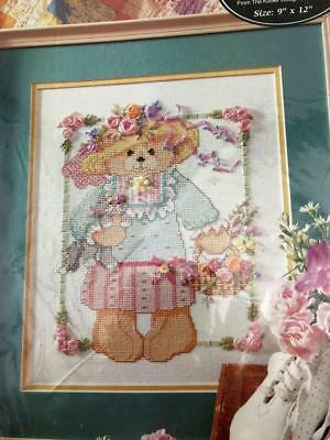 Bucilla Mrs Teddy Siik Ribbon Counted Cross Stitch Kit #40975 Bear Cat 1994 New